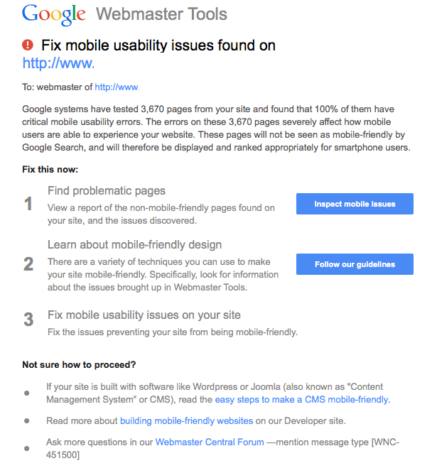 Mobile Usability Warning from Google